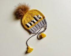 Hand knitted merino baby custom hat Warm and by YellowYarnyYak Custom Hats, Hand Knitting, Baby Shower Gifts, Winter Hats, Fur, Hands, Yellow, Etsy, Accessories