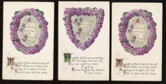 Lot of 3 Violet Flowers & Poems Antique Greeting Vintage Postcards-Unused-aaa632