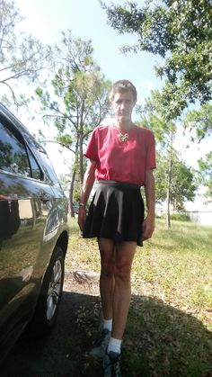 Standing outside of work in a black skirt and my red top. My Outfit, Skater Skirt, Cute Outfits, Skirts, Red, How To Wear, Shopping, Black, Tops