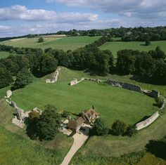 Aerial view © Skyscan Balloon Photography of Berkhamsted Castle- the substantial remains of a strong and important motte and bailey castle dating from the 11th - 13th centuries, with surrounding walls, ditches and earthworks.     A palace complex was added in the 13th century