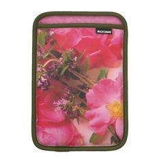 Roses in Thyme iPad Mini Sleeve Vertical iPad Mini Sleeve #zazzle #pink #roses #purple #thyme #ipad #sleeves #electronics #cases