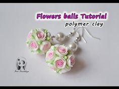 Earrings Flowers balls ✿ Polymer clay Tutorial ✿ Pendientes bolas de flores arcilla polímero - YouTube