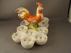 Precious!!! antique Austrian 12 egg dish holder!!! Rooster is the handle to carry the dish!!