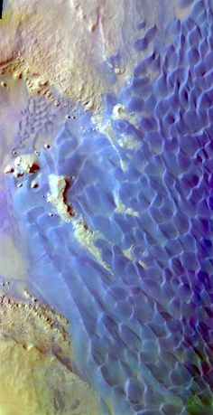 THEMIS false-color image of sand dunes in Rabe Crater on Mars