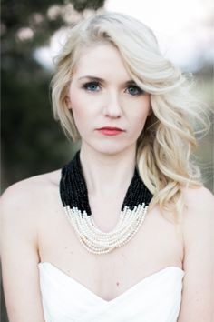Black and white necklace | Alea Lovely Photography | http://burnettsboards.com/2013/12/holiday-couture-classy-stripes/