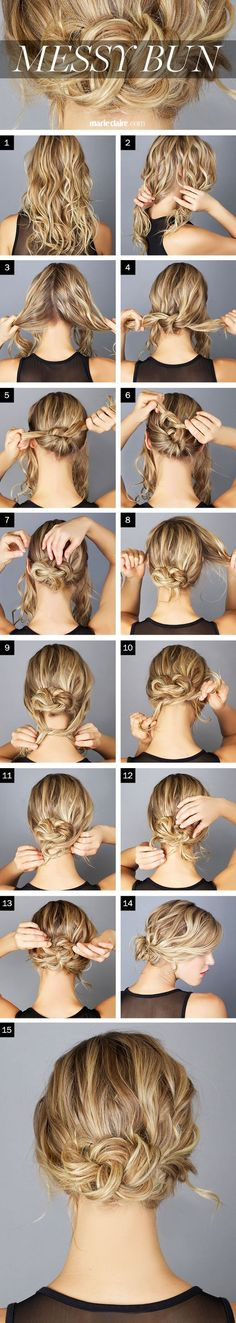 Hair How-To: The Messy Knot Bun (click for step by step instructions) --- if your hair feels silky/slippery, you might want to spray it with a texturizer, sea salt spray, or dry shampoo before you begin.: