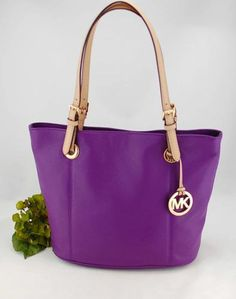 $268 New Michael Kors Jet Set Item Violet Purple Leather MK Logo MD Tote Bag