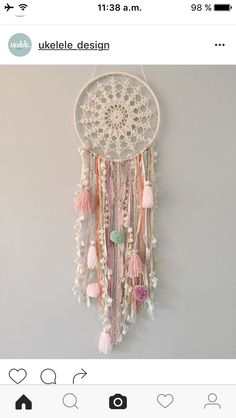 Wish you ✨ # atrapasueños - Home Decor Ideas! Making Dream Catchers, Lace Dream Catchers, Dream Catcher Art, Diy Home Decor Rustic, Diy And Crafts, Arts And Crafts, Make A Wish, How To Make, Hoop Dreams