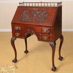 c1890 Colonial Revival desk, mah, 31w, 7-9h.