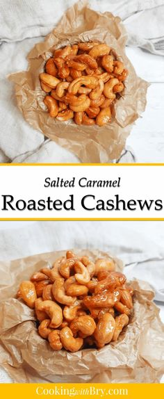 Salted caramel cashews: gorgeously golden, these salted caramel cashews are sweet and salty and the perfect treat. Ready in less than 20 minutes, these salted caramel cashews are a delicious treat. #recipe #recipes #saltedcaramel #partyfood #foodhamper Quick Snacks, Yummy Snacks, Delicious Recipes, Healthy Snacks, Yummy Food, Cashew Recipes, Caramel Recipes, Snack Recipes, Cooking Recipes