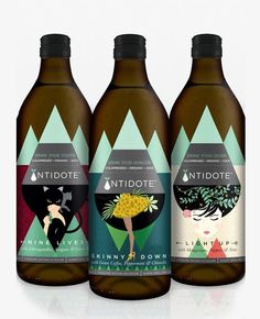 Antidote Coldpressed Juice Packaging. Geometric with overlapping shapes and illustrations
