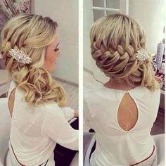 Wedding hair, bridesmaid hair, hair do Wedding Hairstyles For Women, Up Hairstyles, Pretty Hairstyles, Hairstyle Ideas, Hairstyle Braid, Braided Updo, Hairstyle Wedding, Bridesmaid Side Hairstyles, Country Wedding Hairstyles