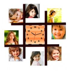 Personalized multi photo frame with wall clock - Best personalized gifts online India