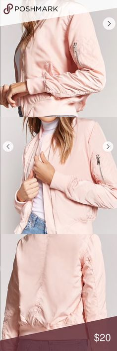 Zip-Front Bomber Jacket 🌸🌸🌸 Pink loving 🌸🌸🌸 This Zip-Front Bomber Jacket is perfect for both winter/spring! It's perfect with light blue jeans and some white sneakers 👟  It's been worn 2-4 times max. 9/10 in condition. Forever 21 Jackets & Coats