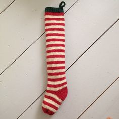 Handknit Christmas Stocking Red Farmhouse Stripes. $35.00 I want these SO bad!!