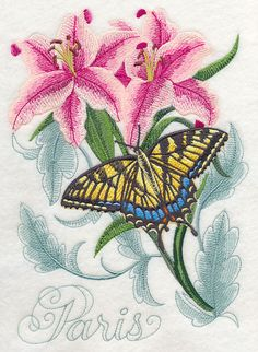 Swallowtail Butterfly and Lilies