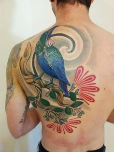 Vince from, All style tattoos artwork - Tui (native bird) and Pohutukawa (native plant) depicted. NZ