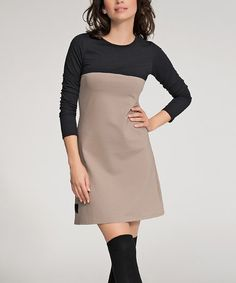 Look what I found on #zulily! Cappuccino & Black Long-Sleeve Shift Dress #zulilyfinds