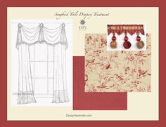 Songbird Toile Drapery Treatment. French decorating, French toile, birds, rouge, bell swag. custom draperies shipping to you. Designnashville.com