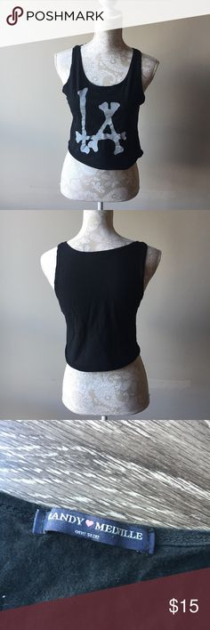 Brandy Melville LA cutoff tank Moderately worn black cutoff crop top from Brandy Melville. Super comfy and great for hot weather. The bottom hem tends to curl up naturally. One size fits most Brandy Melville Tops Crop Tops