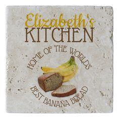Shop World's Best Banana Bread Stone Trivet created by Personalize it with photos & text or purchase as is! Banana Funny, Kitchen World, Best Banana Bread, Kitchen Gifts, Corner Designs, Natural Stones, Raspberry, Create Yourself