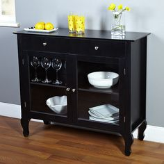 Complete the look of your living space with this Black Dining Room Buffet Sideboard Server Cabinet with Glass Doors. The buffet features two drawers, and two in Buffet Console, Dining Room Buffet, Buffet Server, Sideboard Table, Kitchen Buffet, Room Kitchen, Dining Area, Wine Buffet, Sideboard Ideas