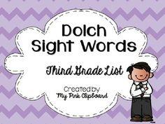 FREEBIE Dolch Sight Words Third Grade List Powerpoint Comm