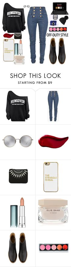 """Hungover"" by aultasia on Polyvore featuring Balmain, Linda Farrow, Kat Von D, Neil Barrett, BaubleBar, Maybelline, Elie Saab, A.P.C. and Black"