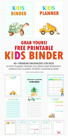Introduce the importance of planning to children. The Kids Binder is loaded with printable pdf planners for kids that can improve organization skills, study habits, and more. Teacher Planner Free, Kids Planner, Lesson Planner, School Planner, Student Planner, Free Planner, Weekly Planner, Planner Tabs, College Planner