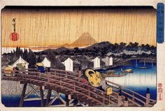 Evening Shower at Nihonbashi Bridge, 1832 by Hiroshige. Ukiyo-e. cityscape. Brooklyn Museum, Brooklyn, New York, USA