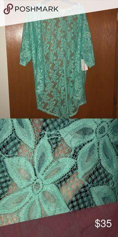 LuLaRoe lace Lindsay Small NWT Brand new mint green lace Lindsay. No flaws. Smoke free home LuLaRoe Tops