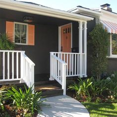 This dark gray-brown home is the perfect base to accent with white and peach trim.  Need a great color lift for your Bellingham WA home?  We do exterior house painting - http://www.northpinepainting.com