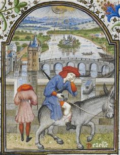 Detail of a miniature of a man riding on a donkey, head in hand, across a bridge, as a personification of Idleness (Peresse), in the Penitential Psalms, from The Dunois Hours, France (Paris), c. 1339 – c. 1450, Yates Thompson MS 3, f. 162r