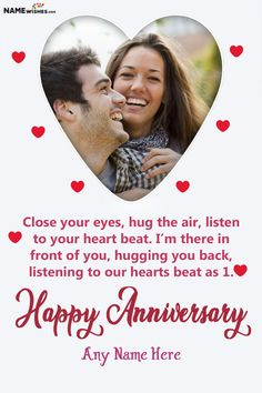 Lovely Heart Anniversary Wish With Name and Photo Frame Free Online. This lovely Hearts anniversary wish is specially designed to wish someone special with a special anniversary wish. Writ their names and add photo. Anniversary Wishes For Couple, Anniversary Greetings, Romantic Anniversary, Happy Anniversary, Perfect Couple, Hug You, Online Gifts, Beautiful Roses, Unique Weddings