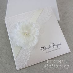 Floral pocket lace Wedding Invitation Created by Eternal Stationery www.eternalstationery.com.au