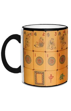 This wonderful 11-ounce mug features images from a Chinese Bakelite Mah Jongg tile set manufactured in the 1920s by Cowan. The Flowers are playful and one-of-a-kind...unique and exquisite!