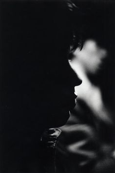 "The Rolling Stones: Mick Jagger in silhouetted profile with a diffused profile of ""Keef"" behind him, photo Bob Bonis 1965"