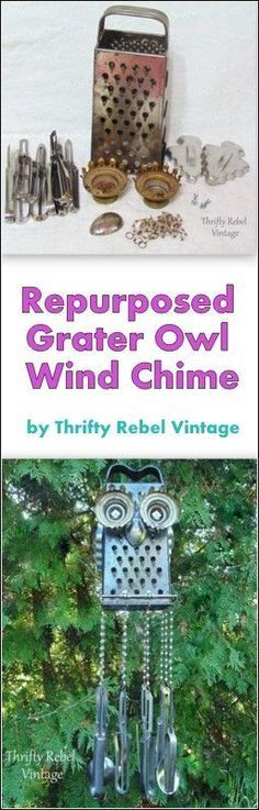 Every garden can use a little whimsy. Make an owl wind chime by repurposing a metal grater and add some vintage measuring spoons as the chimes.