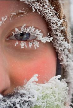 icelashes~ Wow! She had to be really cold & wet to have this picture taken!