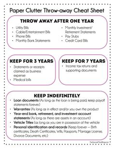 Get rid of paper clutter! What you can toss and what you actually need to keep. FREE Printable to help you get rid of paper clutter and get organized.