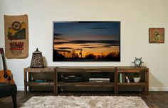 Reclaimed Wood TV Stand - Pallet Wood & Barn Wood Style Entertainment Center - presEARTH Spice via Etsy