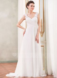 Wedding Dresses - $167.49 - A-Line/Princess V-neck Sweep Train Chiffon Wedding Dress With Lace Beading Sequins (002042294) http://jjshouse.com/A-Line-Princess-V-Neck-Sweep-Train-Chiffon-Wedding-Dress-With-Lace-Beading-Sequins-002042294-g42294