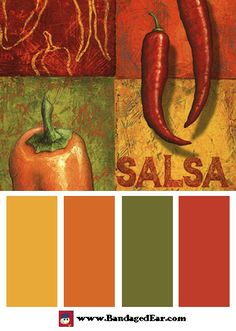 these colours for T's room except swap the orange for a grey......... Restaurant Color Palette: Chili II, Art Print by Delphine Corbin