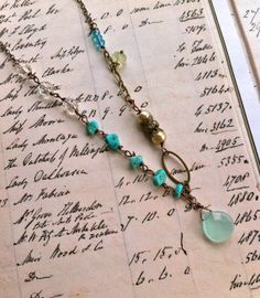 Amelia.sea blue,turquoise beaded,vintage crystal,wire wrapped necklace. Tiedupmemories