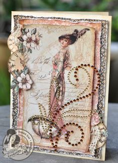 A beautiful A Ladies' Diary card by @Susan Lui with layered, distressed papers #graphic45 #cards