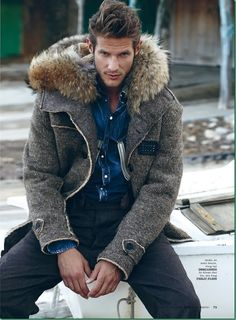 Domenique Melchior by Juan Martin for Elle Man <3 Fur Hooded Wool Zip Jacket http://www.pinterest.com/tiffanymcivor/mens-fashion-top-picks/