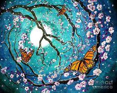 butterfly art | Monarch Butterflies In Teal Moonlight Digital Art