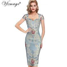 Vfemage Womens Sexy Elegant 3D Flower Jacquard Fabric Casual Party Evening Mother of Bride Special Occasion Bodycon Dress