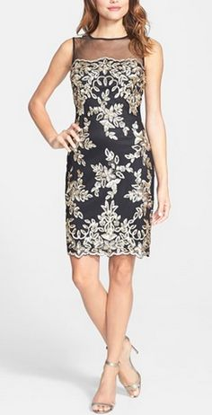 Gorgeous detailing on this black and champagne sheath dress http://rstyle.me/n/sik5an2bn