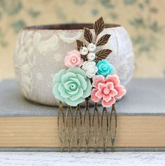 Pink Bridal Hair Comb Aqua Mint Rose Comb Metal by apocketofposies